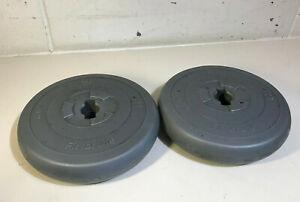 """2 x 4kg Orbatron Vinyl Weights Dumbells 1"""" Fitness Gym 8kg Total"""