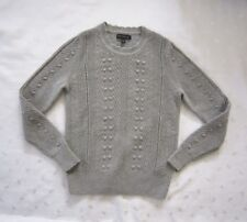 NWOT BANANA REPUBLIC Merino Wool Alpaca Blend Bubble Pointelle Gray Sweater Sz S
