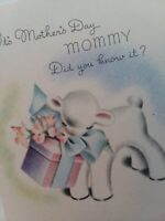 Vtg Norcross Baby LAMB Mommy I Love You MOTHERS DAY GREETING CARD