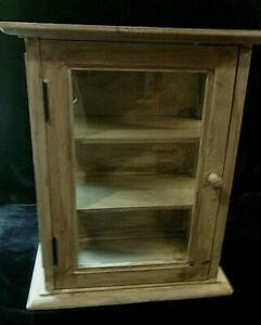 """SOLID WOOD WALL MOUNTED or COUNTER TOP CABINET w/CLEAR GLASS DOORS - 16.25"""" high"""