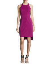 Halston Heritage Sleeveless Fitted Ultrasuede Tank Dress Magenta Size 8 $598 NWT