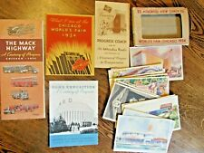 Worlds Fair Chicago 1934 Brochures & Post Cards Railroad Ford Mack Trucks Pabst