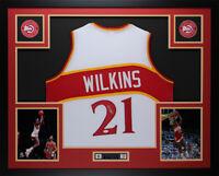 Dominique Wilkins Autographed & Framed White Hawks Jersey JSA Certified D4-L