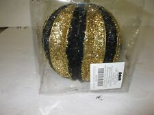 "Black & Gold 5.9"" Round Christmas Ornament Shatter Proof Hobby Lobby 2012"