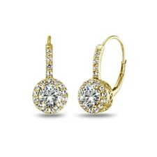 Round Halo Cubic Zirconia Leverback Earrings in Gold Plated Sterling Silver