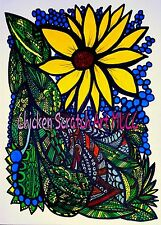 Free Style Sunflower zentangle Original Art
