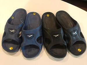 Mens Blue & Black Slip-On Slides Rubber Sandals Flip Flops Shower Shoes Slipper