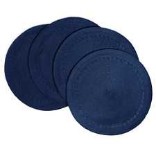 """Creative Dining Group Braided Edge Round Placemats (Set of 4), 15"""", Navy"""