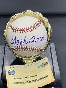 Hank Aaron Signed Autographed Baseball Braves - Steiner Coa