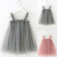 Toddler Child Kids Baby Girls Summer Princess Clothes Strap Tulle Solid Dress