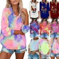 Fashion Womens Hooded Sweatshirt Tie Dye Pullover Long Sleeve Jumper Loose Tops