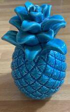 Blue Ceramic Pineapple Crackle Glaze Decor Figure Tropical Home Accent