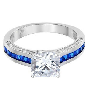 Princess Simulated Diamond Blue Sapphire Engagement Ring