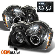 Fits 05-07 Jeep Grand Cherokee Black Bezel Dual Halo Projector LED Headlights