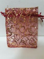 10 Red Heart Organza Bags Wedding Favours