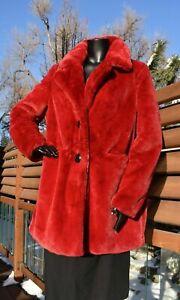 SAM EDELMAN plush super soft red faux fur jacket COAT women's sz L NWT new