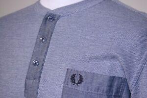 Fred Perry Long Sleeve Henley Polo Shirt - L - Indigo Blue Oxford - Rare Mod Top