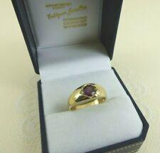 Stunning NEW 9ct 9carat Yellow Gold Almandine Garnet Signet Band Ring Size O