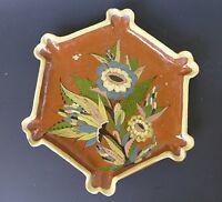 "Large unusual vintage Mexican Tlaquepaque tourist pottery plate  13 3/4 "" diam."