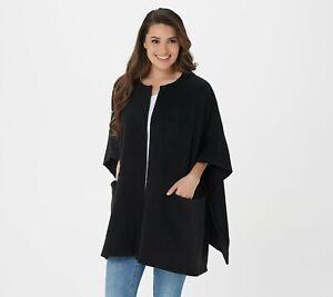 Cuddl Duds Fleecewear Stretch Open Front Wrap (Black, One Size Plus) A381797
