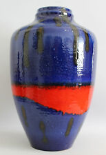 FAT LAVA Vase CARSTENS XL 45cm West Germany Pottery WGP Blue Red 70s 70er Design