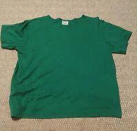 015 Women's Aileen Large Shirt Green Short Sleeve Top 100% Cotton