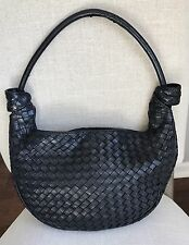 VTG Authentic BOTTEGA VENETA Italy Black Intrecciato Woven Leather Tie Hobo Bag