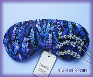 Eye Sleep Mask Soft Cotton Lavender Scented Flower UK Made Relax Gift Blackout