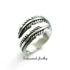 SOLID Sterling Silver 925 Angel Feather Good Omen Lucky Thumb Finger Ring