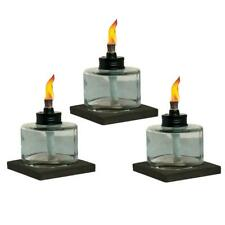 4 in. Mixed Material Votive Glass Table Torch Brown And Clear 3-Pack NEW