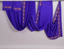 Heavy long silk Indian sari dress scarf fabric textile, floral embroidery