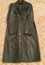 Ralph Lauren Dark Green Leather Trench Coat Size 6
