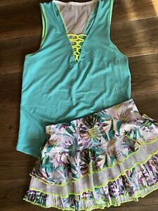 Lucky In Love Tennis Outfit Top Skirt Rhumba XS Tropical Floral extra small