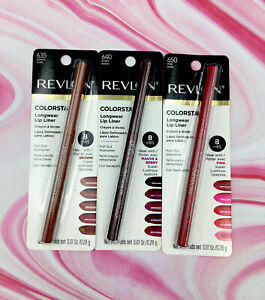 3x Revlon Color Stay 8 Hr Longwear Lip Liner W/ Pull Out Sharpener 635, 640, 650