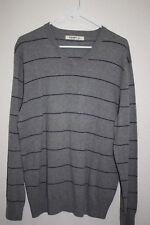 Old Navy V Neck Sweater Size Large Grey and Purple Stripe