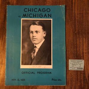 Vtg 1932 Michigan Vs Chicago Football Program Wolverines & Ticket Stub Rare NCAA