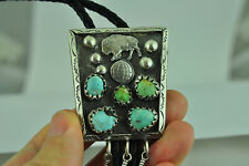 Large 925 Sterling Silver Native Pattern Genuine Buffalo Turquoise Bolo Tie