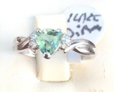 14kt solid White gold Ring 4 Diamonds And Fancy Color Stone Size 7