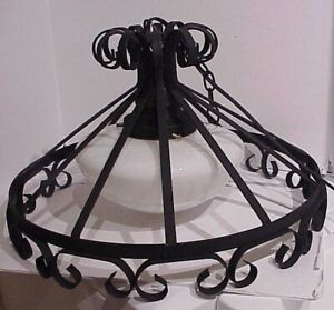 VINTAGE SCROLLED BLACK WROUGHT IRON HANGING PENDANT CEILING LIGHT FIXTURE