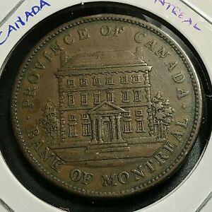 1842 PROVINCE OF CANADA BANK OF MONTREAL PENNY HIGH GRADE COIN