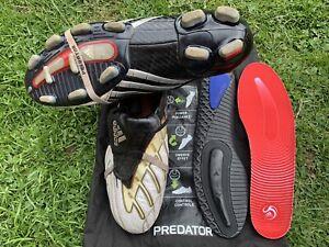 Adidas Predator Powerswerve TRX FG, size UK 9,White/Black/Silver/Red, VGC
