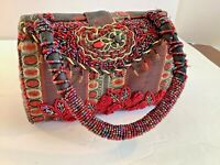 Womens Red Floral Embellished Fabric Small Hand Bag Beads Hard Case