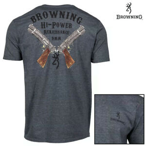 Browning Hi Power T-Shirt (L)- Heather Navy