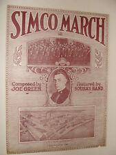 Simco March Simmons Mfg Co Band Kenosha Wi 1919 by Joe Green, Sousa Band RARE