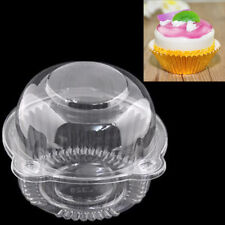 100 Clear Plastic Jumbo Cupcake Box Holder with 100 Gold Foil Liners Gift