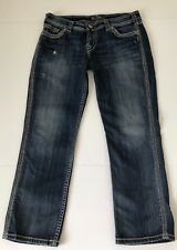 Silver Jeans Womens Twisted Capri Distressed Thick Stitch Size 30 Whiskered Wash