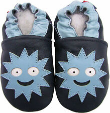 carozoo soft sole leather toddler shoes monster dark blue 2-3y