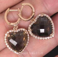 SOLID 14Kt/585 ROSE GOLD NATURAL SWISS GORGEOUS SMOKE TOPAZ DIAMOND DROP EARRING