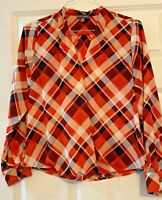 Multicolored Vince Camuto Plaid Top Women's Blouse Size PM Petites Medium