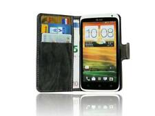 Handy-Tasche Etui Hülle für HTC ONE X Book-Style + Folie // Anthrazit